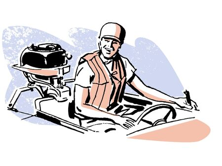 outboard: A vintage illustration of a man driving a boat Stock Photo