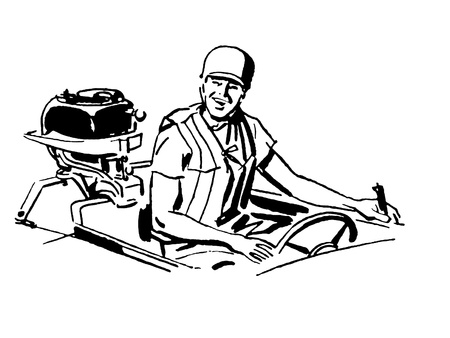 A black and white version of a vintage illustration of a man driving a boat illustration