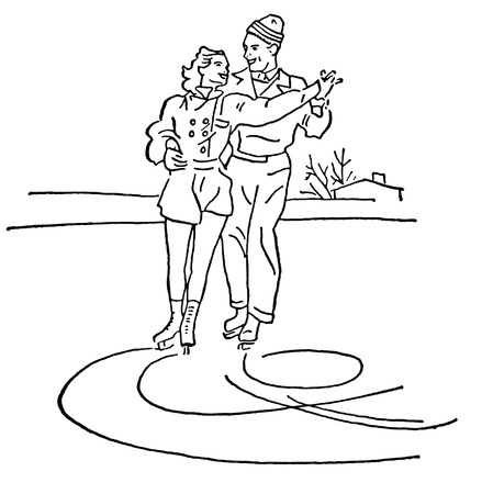 A black and white version of a vintage illustration of two people figure skating illustration