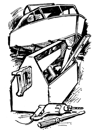 A black and white version of a vintage print of tools 版權商用圖片
