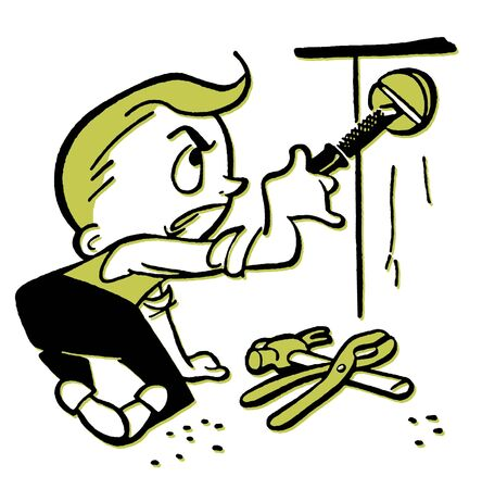 irritating: A cartoon style drawing of a young boy doing construction Stock Photo