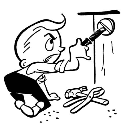 A black and white version of a cartoon style drawing of a young boy doing construction Banco de Imagens