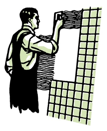 tiling: A vintage illustration of a man tiling