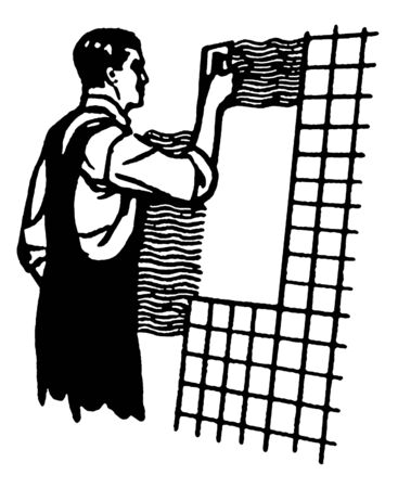 tiling: A black and white version of a vintage illustration of a man tiling