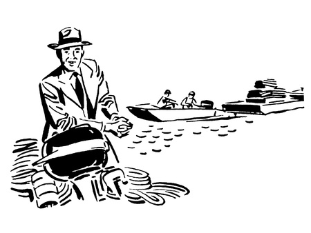 outboard: A black and white version of a vintage illustration