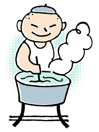 A cartoon style drawing of a man doing laundry by hand Stock Photo - 14917533