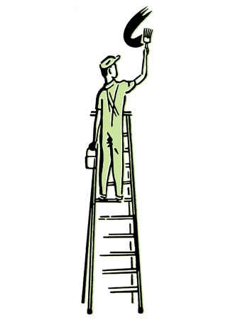 An illustration of a man climbing a ladder illustration