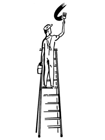 A black and white version of an illustration of a man climbing a ladder illustration