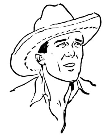 A black and white version of a vintage portrait of a cowboy Stock Photo