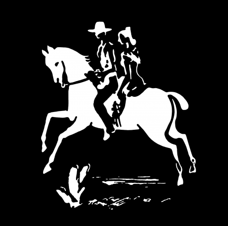 A black and white version of a vintage print of a woman and cowboy on a horse photo