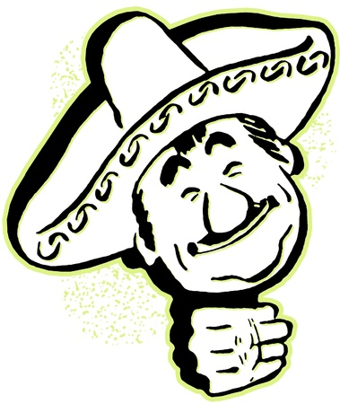 A black and white version of a cartoon portrait of a man in a sombrero Stock Photo