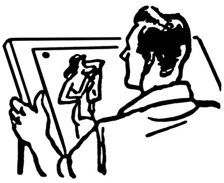 slicked back hair: A vintage illustration of an artist
