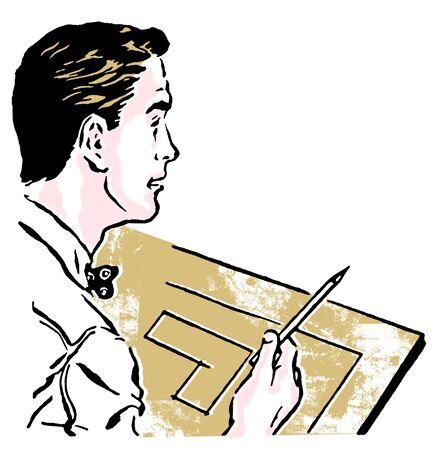 architect: A vintage illustration of an architect