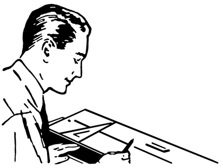 architect drawing: A black and white version of a vintage illustration of an architect Stock Photo