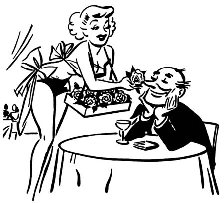 A black and white version of a vintage style drawing of a woman tempting a man with flowers Stock fotó