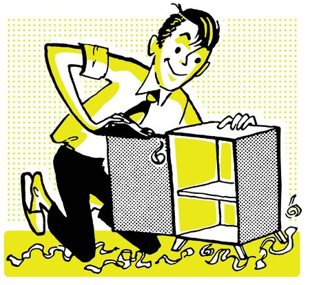 wood shavings: An illustration of a man fixing a small cabinet