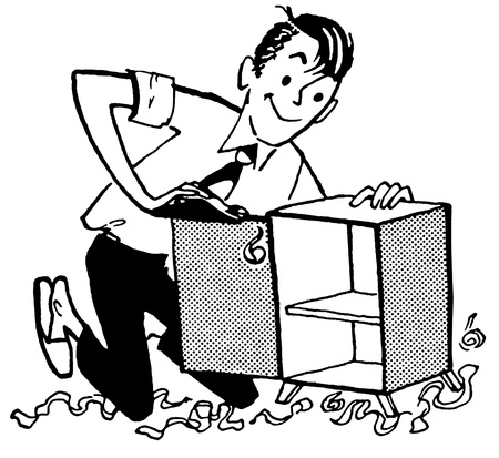wood shavings: A black and white version of an illustration of a man fixing a small cabinet