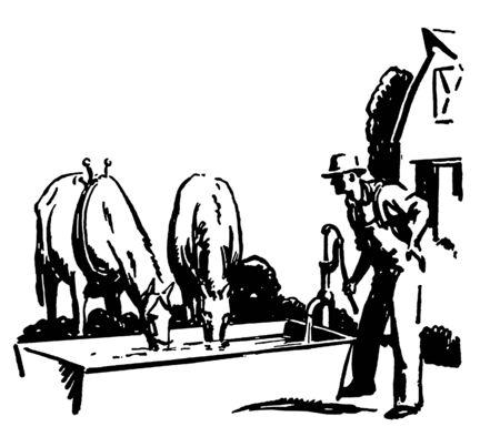 A black and white version of a vintage illustration of a ranch Reklamní fotografie