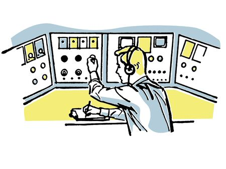 A vintage style illustration of a flight controller Stok Fotoğraf