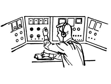 A black and white version of a vintage style illustration of a flight controller Stock Illustration - 14917681