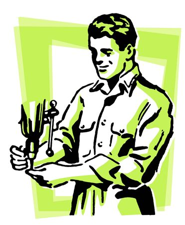button up shirt: A vintage style drawing of a construction worker