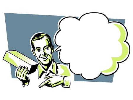 conversing: A vintage illustration of a man with a speech bubble