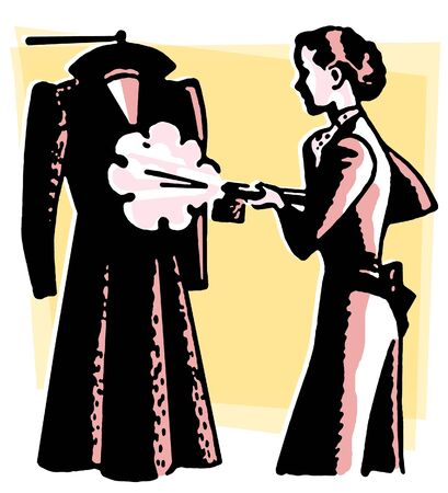 homemaker: A vintage style image of a woman steaming clothes