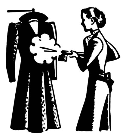 drycleaning: A black and white version of a vintage style image of a woman steaming clothes