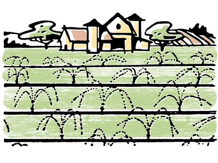 cultivated land: An illustration of a farmhouse Stock Photo