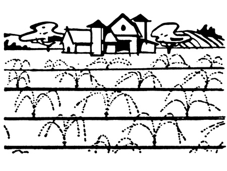 rural scene: A black and white version of an illustration of a farmhouse
