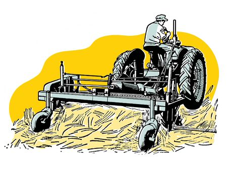 A vintage illustration of a man tending to fields with a tractor illustration