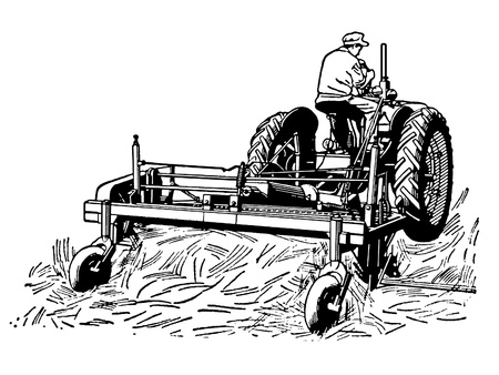 A black and white version of a vintage illustration of a man tending to fields with a tractor illustration