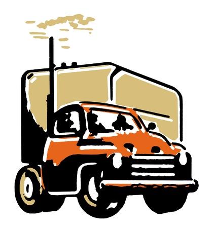 A vintage illustration of a truck illustration