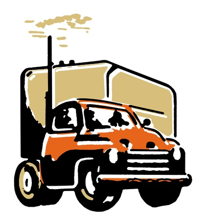 drivers: A vintage illustration of a truck
