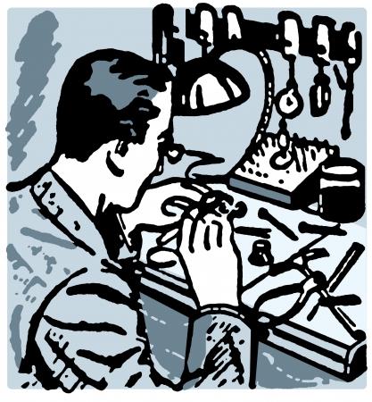 A vintage illustration of a watch maker Stock Illustration - 14918309