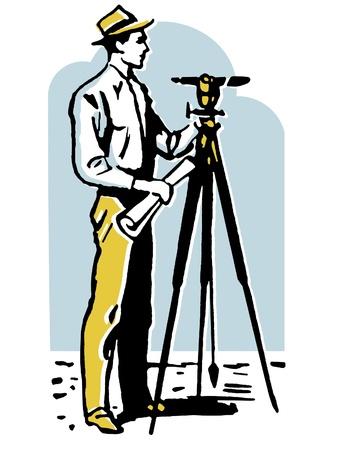A vintage illustration of a man surveying the land illustration