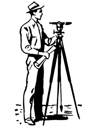 A black and white version of a vintage illustration of a man surveying the land illustration