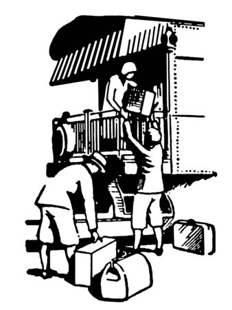 A black and white version of a vintage illustration of people boarding a train for vacation illustration