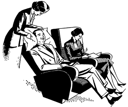 tending: A black and white version of a vintage print of a flight attendant tending to a customer