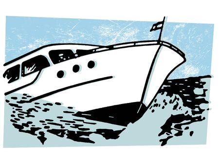 speedboats: A vintage illustration of a boat