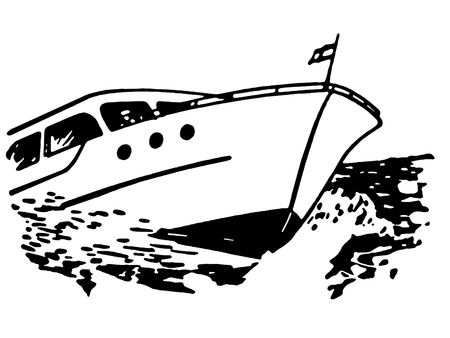 A black and white version of a vintage illustration of a boat Stock Illustration - 14917408