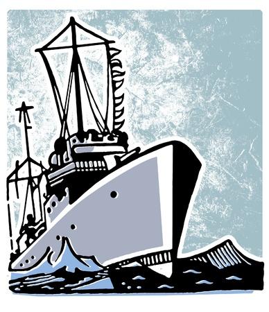 A vintage illustration of a ship illustration