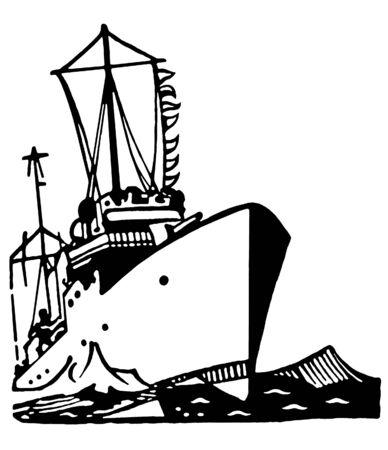 A black and white version of a vintage illustration of a ship illustration