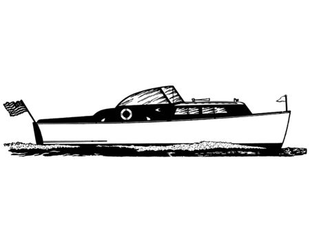 A black and white version of a vintage illustration of a boat Stock Illustration - 14917260