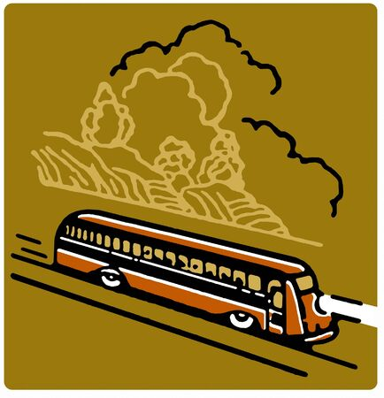 busses: A vintage illustration of a bus Stock Photo