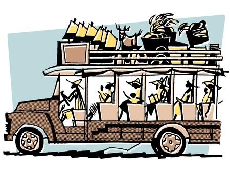 brim: A vintage illustration of a bus filled to the brim