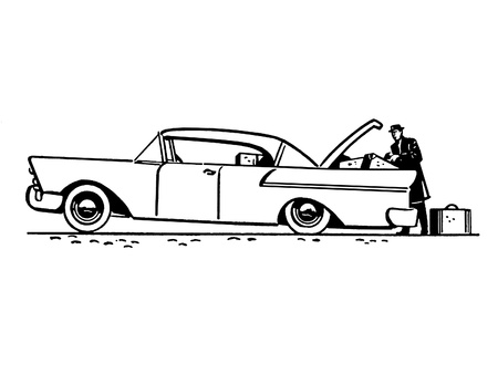 A black and white version of a vintage illustration of a classic car Stock Illustration - 14917218