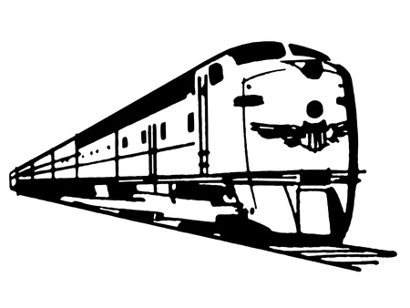 A black and white version of a vintage illustration of a speeding train illustration