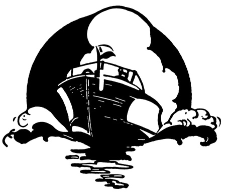 A black and white version of a vintage illustration of a boat illustration