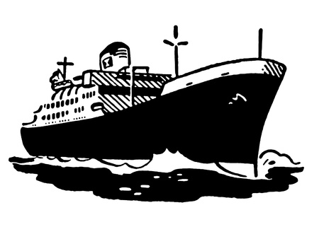 A black and white version of a vintage illustration of a ship illustration